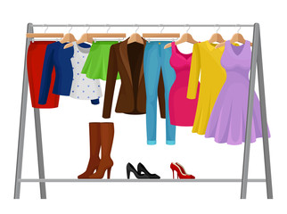 Cartoon colorful clothes on hangers. Fashion concept.