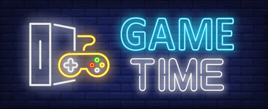 Game time neon text with game console and controller