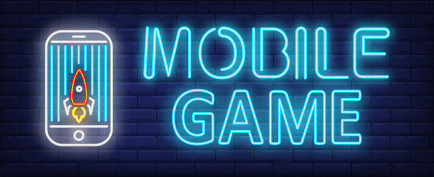 Mobile game neon text with rocket game application on smartphone