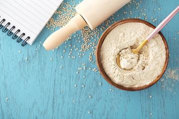 Gluten free baking background with quinoa flour