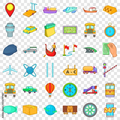 Paid delivery icons set  Cartoon style of 36 paid delivery