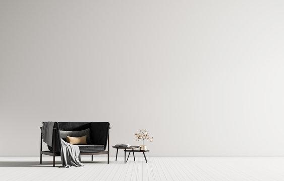 Minimalist interior with armchair. Scandinavian style