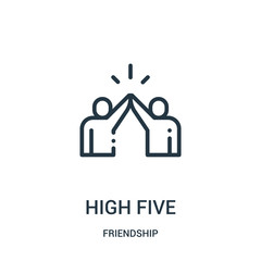 high five icon vector from friendship collection. Thin line high five outline icon vector illustration. Linear symbol for use on web and mobile apps, logo, print media.