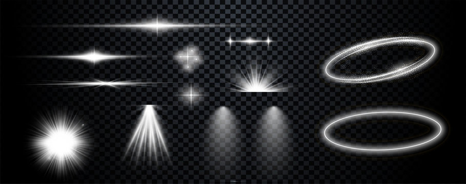 Set of  white transparent lens flares and lighting effects. Vector