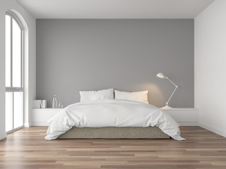 Fototapeta Minimal bedroom 3d render,There are wood floor and  gray wall.Furnished with brown fabric bed and white blanket .There are arch shape window nature light shining into the room. obraz