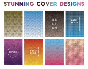 Stunning Cover Designs. Alive geometric patterns. Positive background. Vector illustration.