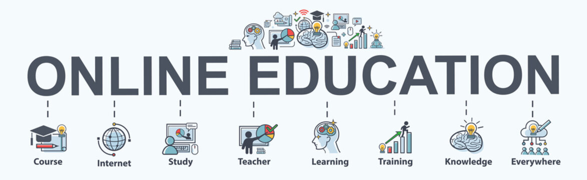 Online Education banner web icon for lesson and presentation. course, teacher, study, e learning, knowledge everywhere and everytime. Minimal vector infographic.