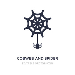 cobweb and spider icon on white background. Simple element illustration from Web concept.