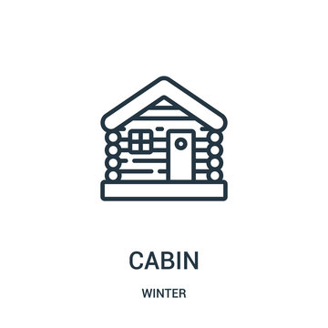 cabin icon vector from winter collection. Thin line cabin outline icon vector illustration. Linear symbol for use on web and mobile apps, logo, print media.