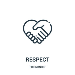 respect icon vector from friendship collection. Thin line respect outline icon vector illustration. Linear symbol for use on web and mobile apps, logo, print media.