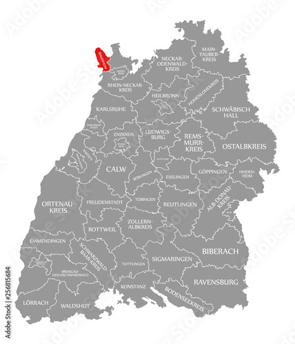 Map Of Germany Karlsruhe Baden.Mannheim County Red Highlighted In Map Of Baden Wuerttemberg Germany