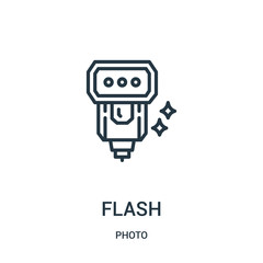 flash icon vector from photo collection. Thin line flash outline icon vector illustration. Linear symbol for use on web and mobile apps, logo, print media.