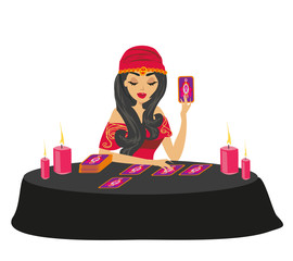 fortune teller forecasting future with tarot cards