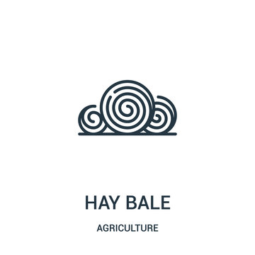 hay bale icon vector from agriculture collection. Thin line hay bale outline icon vector illustration. Linear symbol for use on web and mobile apps, logo, print media.