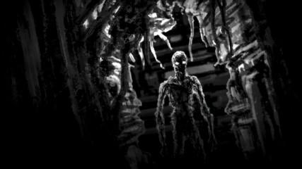 Dark zombie standing in corridor spaceship with blinking light.