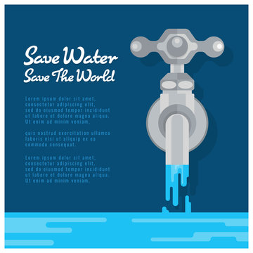 Save water save world banner with water tap are open water vector design