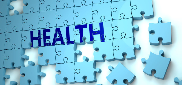 Health puzzle - complexity, difficulty, problems and challenges of a complicated concept idea pictured as a jigsaw puzzle tiles with a English word, 3d illustration