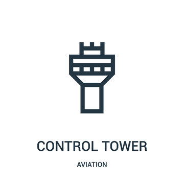 control tower icon vector from aviation collection. Thin line control tower outline icon vector illustration. Linear symbol for use on web and mobile apps, logo, print media.