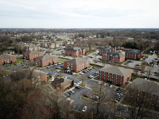 An aerial view looking southeast from a railroad track that briefly forms the boundary line between Congressional Districts 6 and 13 Greensboro