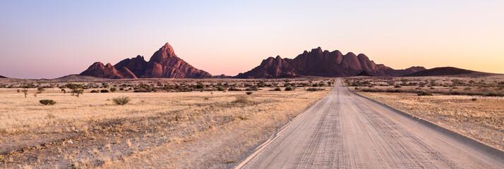 Aluminium Prints Salmon Road towards the Spitzkoppe, Namibia.