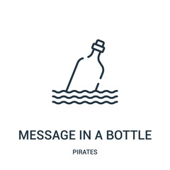 message in a bottle icon vector from pirates collection. Thin line message in a bottle outline icon vector illustration. Linear symbol for use on web and mobile apps, logo, print media.