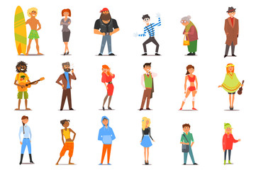 Flat vector set of various cartoon people characters with different lifestyles and interests. Young men and women, old lady, teenagers