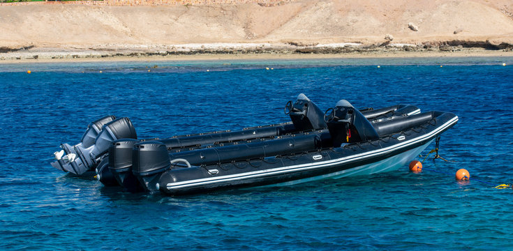 Rigid inflatable boats, RIB boats, diving boats in the red sea.