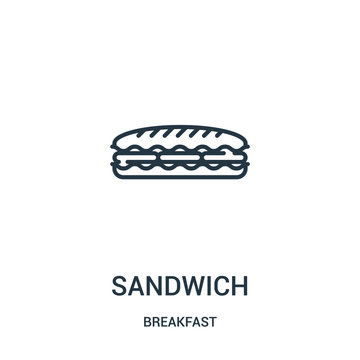 sandwich icon vector from breakfast collection. Thin line sandwich outline icon vector illustration. Linear symbol for use on web and mobile apps, logo, print media.