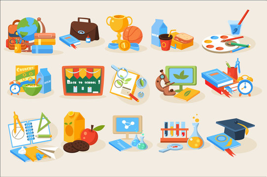 Flat vector set of various school items for education. Books, stationery, chalkboard, paints, microscope, flasks, globe, trophy, medal, magnifying, glass lunch, backpack, computers