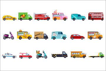 Flat vector set of service vehicles. Police car, taxi, fire engine, ambulance, delivery truck, tourist and school bus, ice cream, fast food and coffee vans