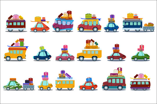 Flat vector set of colorful cars, buses and vans. People going on summer vacation or moving to new place. Transport with luggage on roof. Elements for website or poster