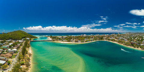 Printed roller blinds Dubai Aerial drone view, Tallebudgera Creek and beach on the Gold Coast, Queensland, Australia