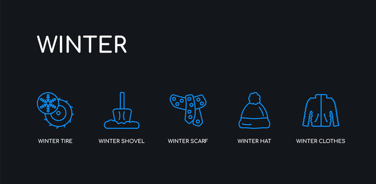 5 outline stroke blue winter clothes, winter hat, winter scarf, shovel, tire icons from collection on black background. line editable linear thin icons.