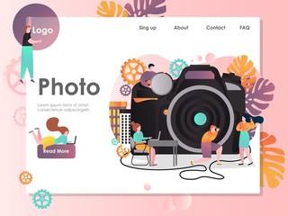 Photo vector website landing page design template
