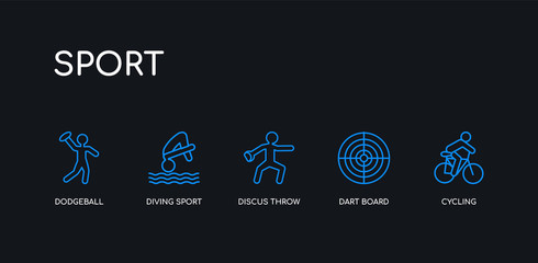 5 outline stroke blue cycling, dart board, discus throw, diving sport, dodgeball icons from sport collection on black background. line editable linear thin icons.
