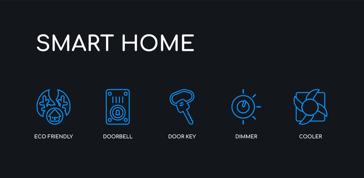 5 outline stroke blue cooler, dimmer, door key, doorbell, eco friendly icons from smart home collection on black background. line editable linear thin icons.