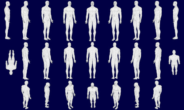Set with a polygonal man in different positions. 3D. Vector illustration