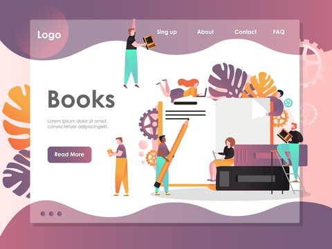 Books vector website landing page design template