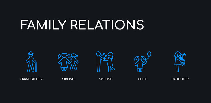 5 outline stroke blue daughter, child, spouse, sibling, grandfather icons from family relations collection on black background. line editable linear thin icons.