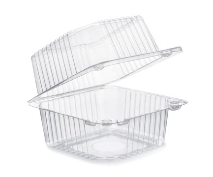 Open empty transparent plastic food container