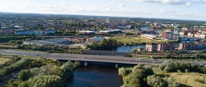 View of the main road bridge over the River Tees in Stockton