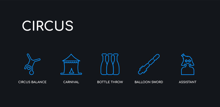 5 outline stroke blue assistant, balloon sword, bottle throw, carnival, circus balance icons from circus collection on black background. line editable linear thin icons.