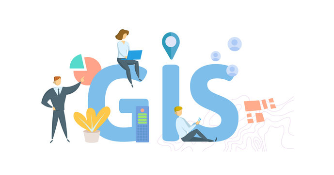 GIS, geographic information system. Concept with people, letters and icons. Colored flat vector illustration. Isolated on white background.