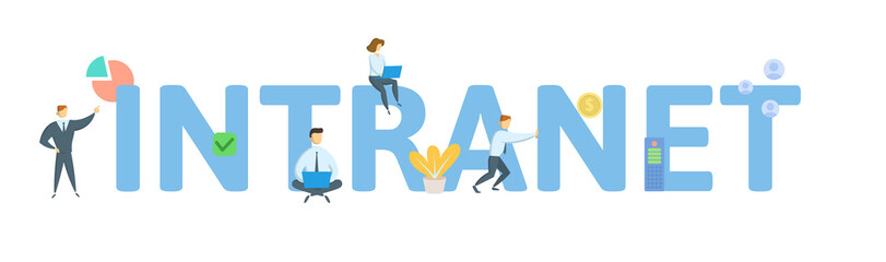 INTRANET. Concept with people, letters and icons. Colored flat vector illustration. Isolated on white background.