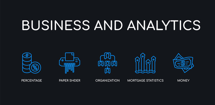 5 outline stroke blue money, mortgage statistics, organization, paper shder, percentage icons from business and analytics collection on black background. line editable linear thin icons.
