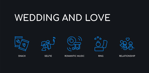 5 outline stroke blue relationship, ring, romantic music, selfie, snack icons from wedding and love collection on black background. line editable linear thin icons.