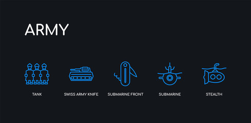 5 outline stroke blue stealth, submarine, submarine front view, swiss army knife, tank icons from army collection on black background. line editable linear thin icons.