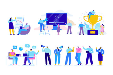 Wall Mural - Creative team characters flat vector set. Discussion people. Office workers life. Team thinking and brainstorming.  Analytics of company information. Flat vector characters
