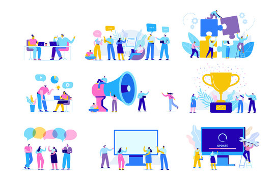 Creative team characters flat vector set. Discussion people. Office workers life. Team thinking and brainstorming.  Analytics of company information. Flat vector characters