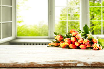 Fototapete - Fresh spring flowers and white window space